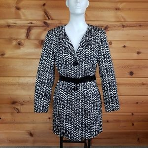 Printed black white Coach jacket lined trench belt